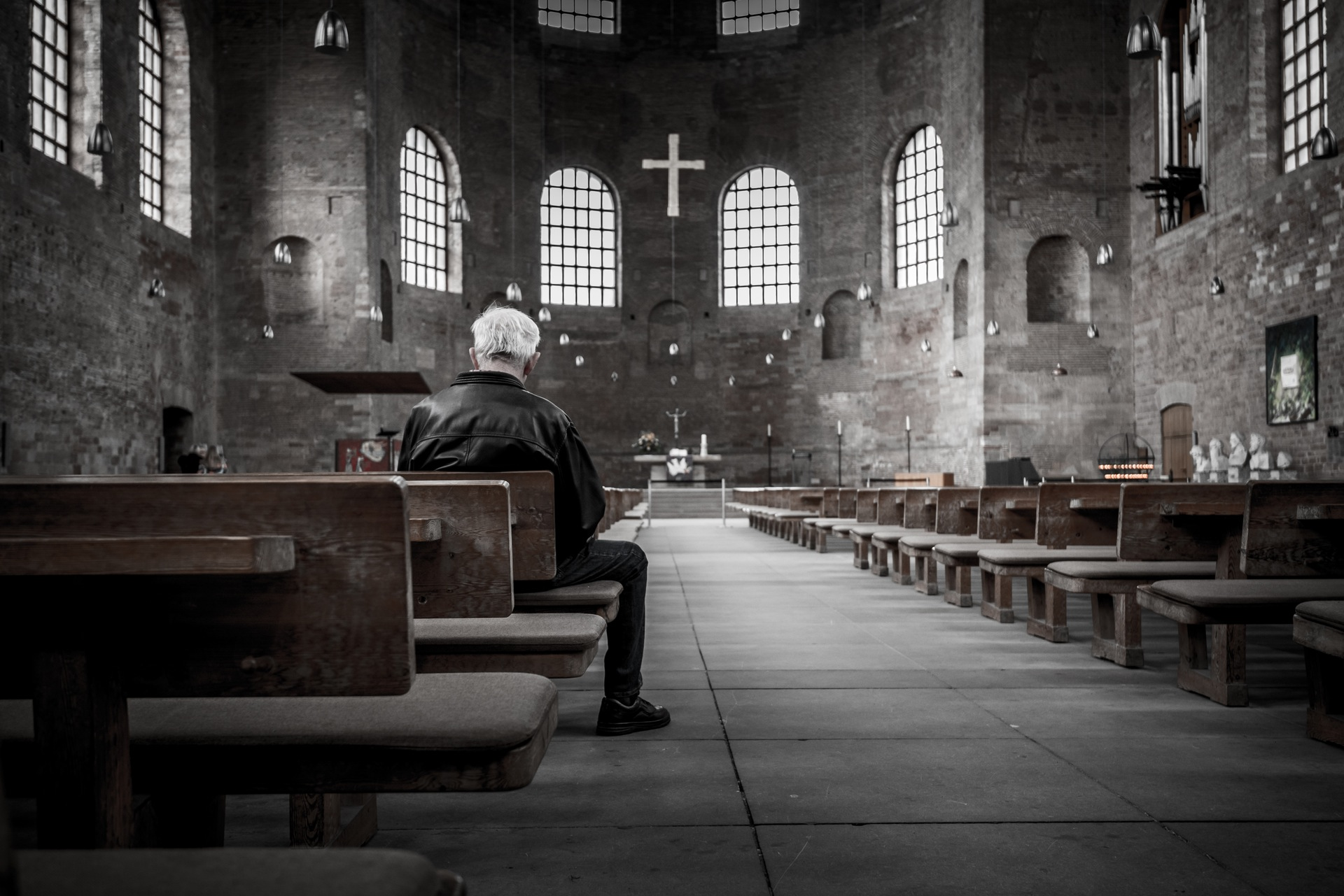 Man in cathedral photo